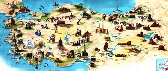 Karta Turcii Karty Avtomobilnyh Dorog Dostoprimechatelnostej